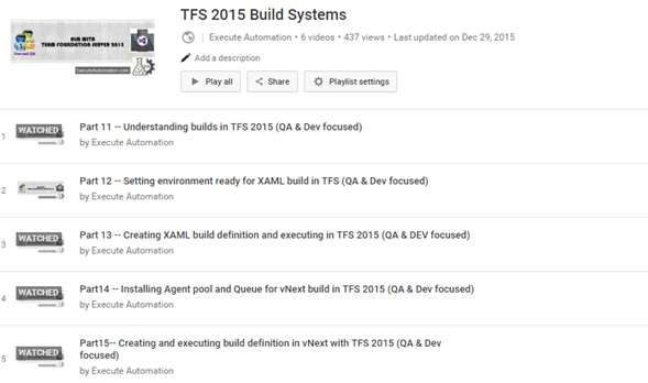 TFS 2015 – ExecuteAutomation