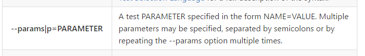 Passing parameters to NUnit test via CLI using params